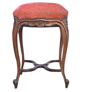Antique French Carved & Upholstered High Stool