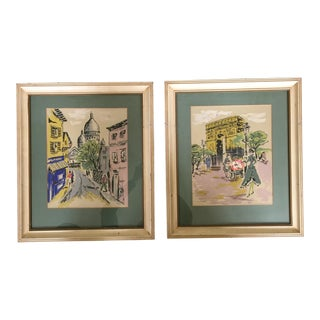 Mid-Century Modern Scenic France Screened Prints- a Pair