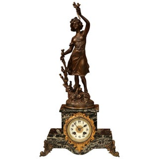 19th Century French Spelter & Marble Signed Mantel Clock