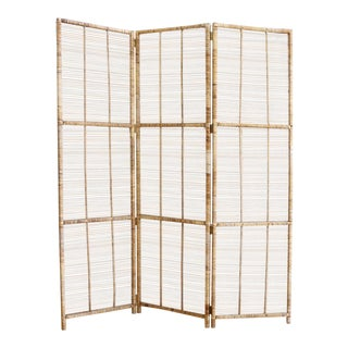 Vintage Bamboo & Rattan Folding Screen Room Divider