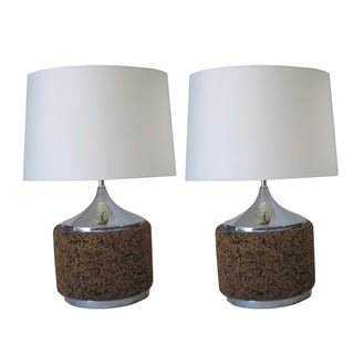 Mid-Century Cork & Chrome Table Lamps - A Pair