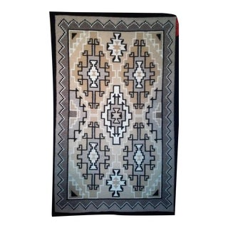 "Two Grey Hills Navajo Woven Rug - 4'4"" X 6'9"""