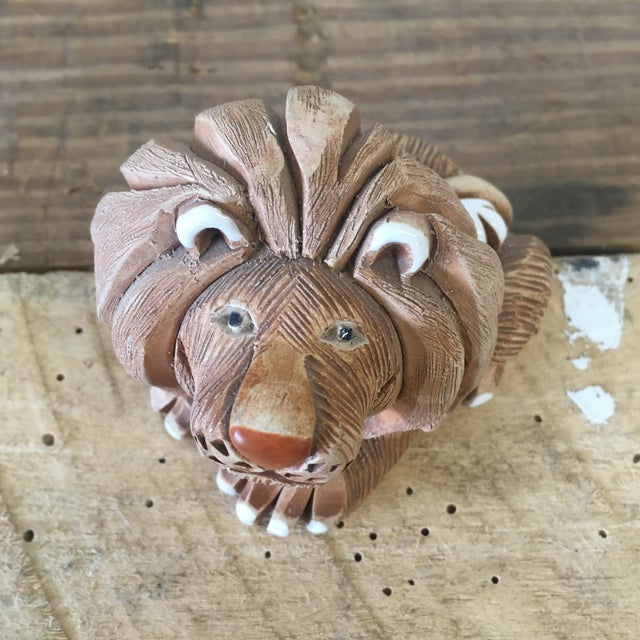 Image of Mid-Century Clay Lion Sculpture
