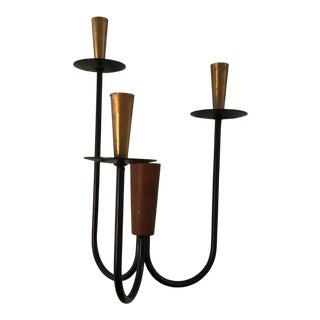 Teak & Brass Candle Holder