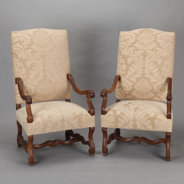 Antique Os Du Mouton Carved Armchairs - A Pair - Image 2 of 9