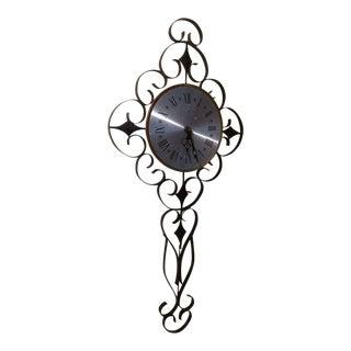 Mid-Century Elgin Scrolled Metal Iron Wall Clock