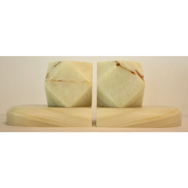 Carved Onyx Stone Geometric Sculptures / Bookends - A Pair - Image 7 of 9