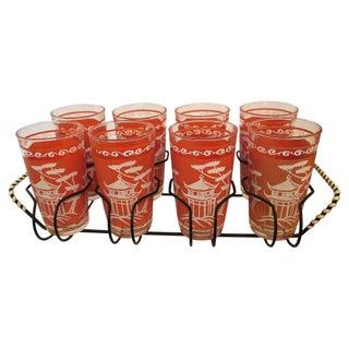 1950s Coral Pagoda Glasses - Set of 8