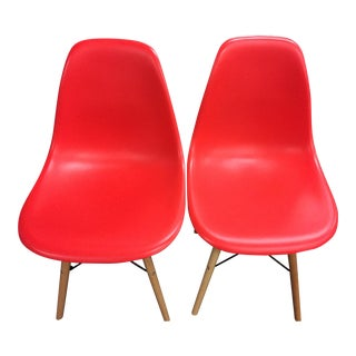 Red Paris Tower Wood Leg Side Chairs - A Pair
