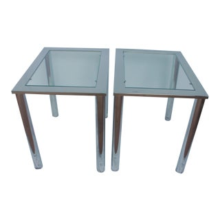 Milo Baughman Chrome & Glass End Tables - A Pair