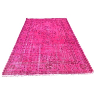 Hot Pink Over-Dyed Turkish Rug - 5′11″ × 9′6″