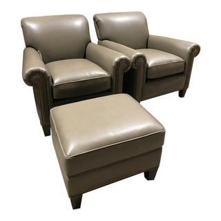 Hancock & Moore Leather Studio Chairs & Ottoman - Set of 3