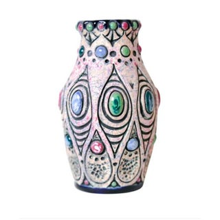 Art Nouveau Jeweled Pottery Vase