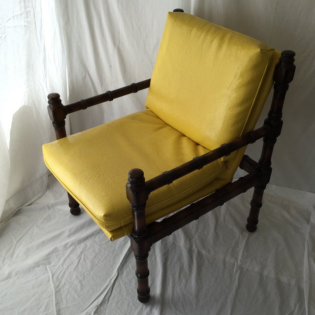 Vintage Bamboo Motif Yellow Chair - Image 4 of 7