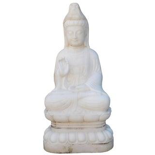 Chinese White Marble Sitting Kwan Yin Tara Bodhisattva Statue