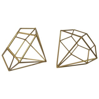 Metal Shaped Faceted Diamonds - Pair