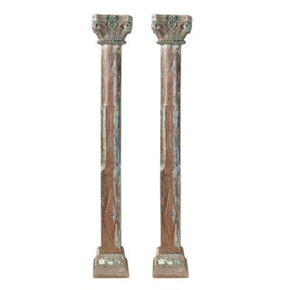 Antique Wood Carved Pillars - A Pair