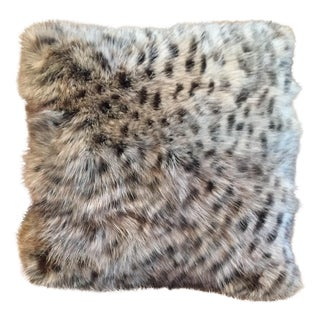 Animal Print Real Fox Fur Square Decorative Accent Pillow