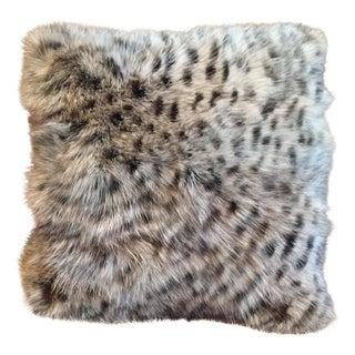 Animal Print Real Fox Fur Square Decorative Accent Pillow