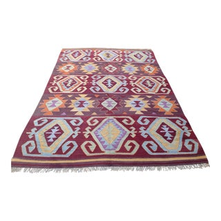 Vintage Turkish Kilim Rug - 6' x 9'2""