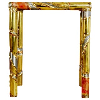 Brutalist Mixed Metal Silas Seandel Console Table & Functional Art Signed, 1982