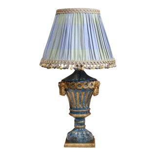 19th Century Italian Painted Wooden Lamp with Custom Silk Shades - A Pair