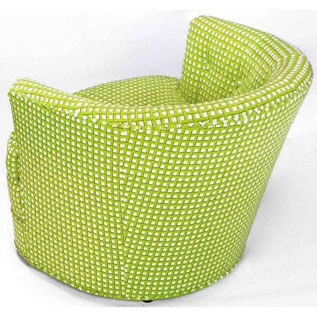 Image of Pair Barrel Back Swivel Chairs In Chartreuse Needlepoint