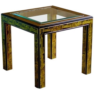 Rare Acid Etched Brass End Table by Bernhard Rohne