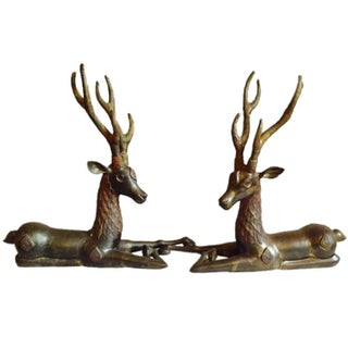 Antique 2 Ft Brass Deer Floor Statues Ornate Embellished - a Pair