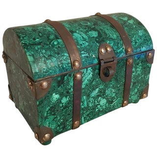 Italian Malachite & Brass Treasure Chest Box