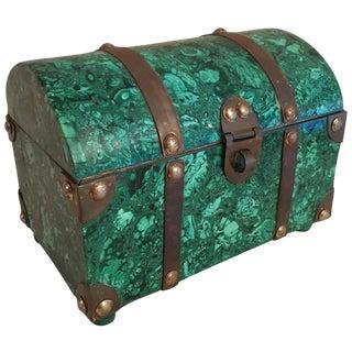 Italian Malachite & Brass Treasure Chest Box