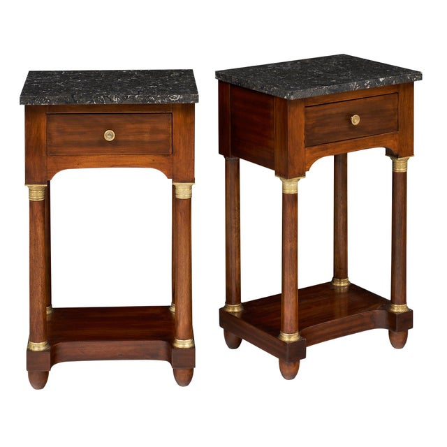 Empire Style Marble Top Side Tables- A Pair - Image 2 of 10
