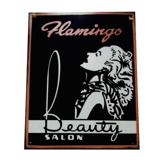 Metal Flamingo Beauty Salon Sign