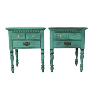 Ethan Allen Turquoise Blue Nightstands - A Pair