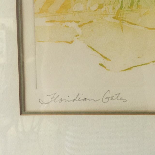 """Floridian Gates"" Framed Intaglio Etching - Image 3 of 10"