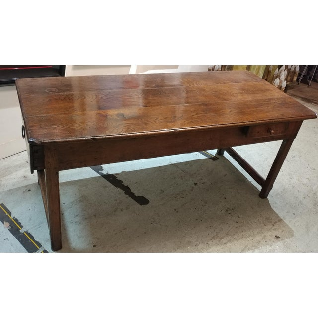 18th c french farm dining table chairish for Table th width ignored