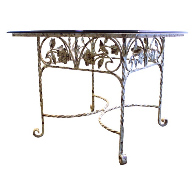 White wrought iron floral base side table chairish for Wrought iron side table base