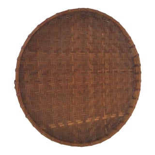 Round Rattan & Bamboo Basket Tray
