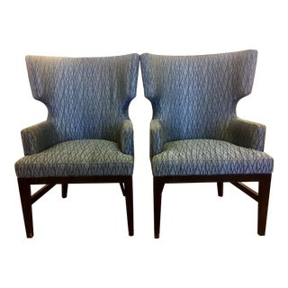 Contemporary Queen Anne Wingback Chairs - A Pair