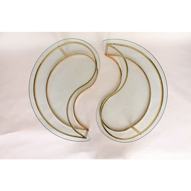 Yin Yang Brass & Glass Side Tables - A Pair - Image 2 of 7