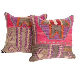 Pink & Gray Turkish Kilim Cushions - A Pair