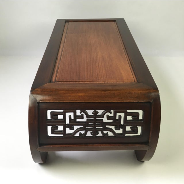 Chinese Relief Coffee Table: Antique Chinese Carved Rosewood Kang Coffee Table