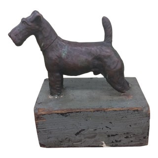 Copper Terrier on Wood Base