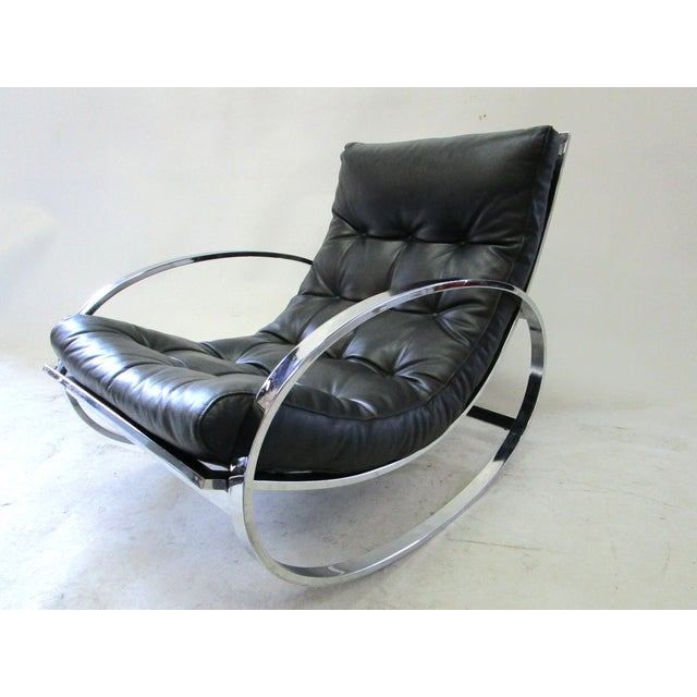 Milo Baughman Vintage Rocking Chair & Ottoman - Image 6 of 6