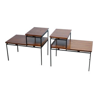 Pair of Two-Tier Walnut and Iron Side Tables by Furnwood Corp