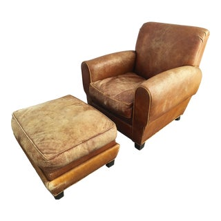 Distressed Chestnut Leather Club Chair & Ottoman