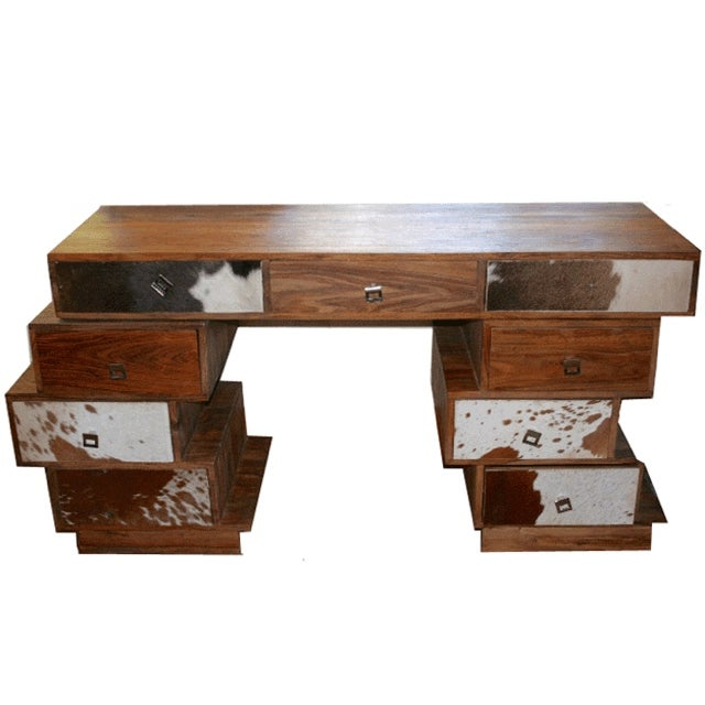 Stacked Cowhide Table - Image 1 of 2