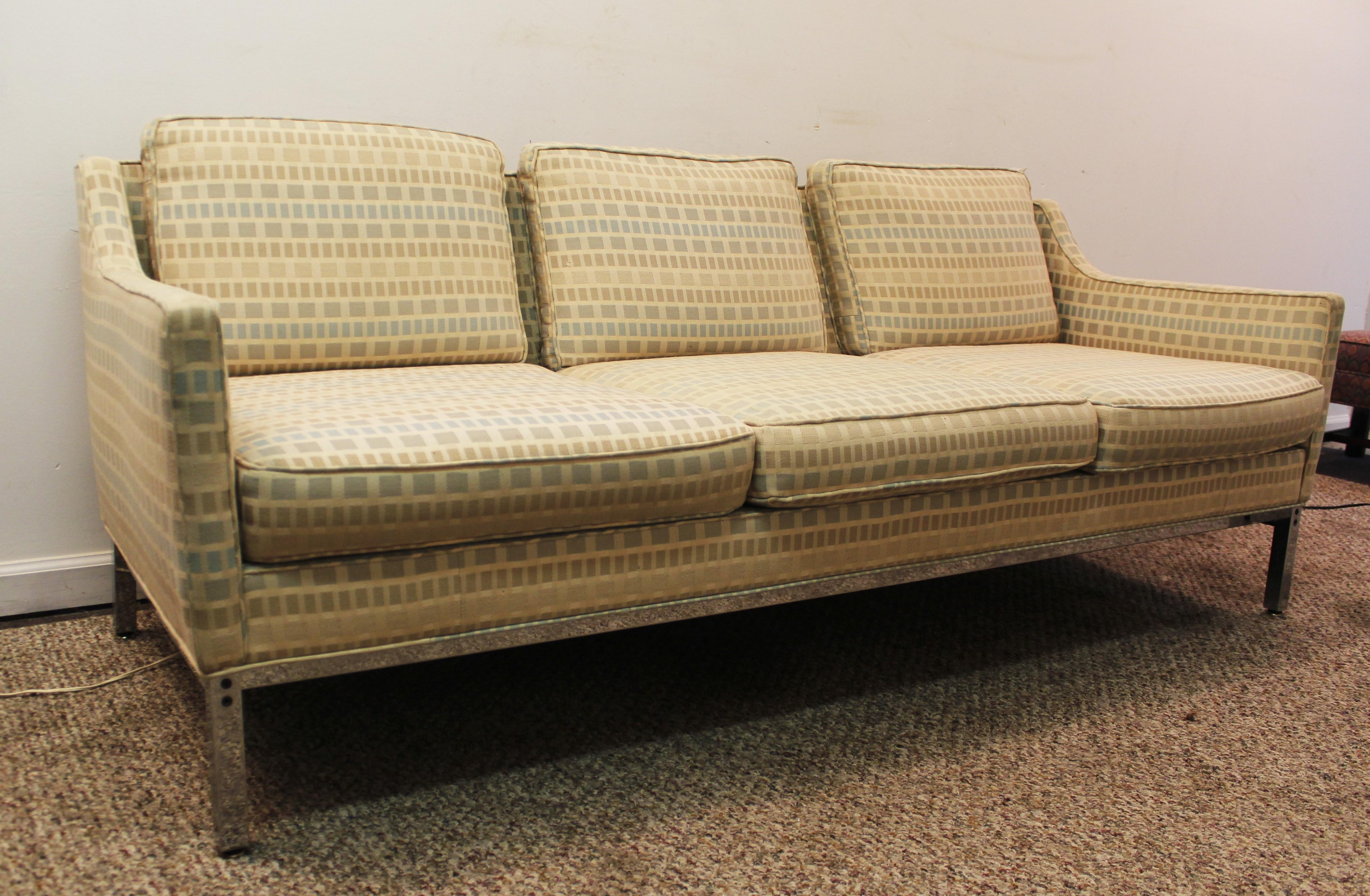 MidCentury Modern Milo Baughman Style Geometric Pattern Sofa on