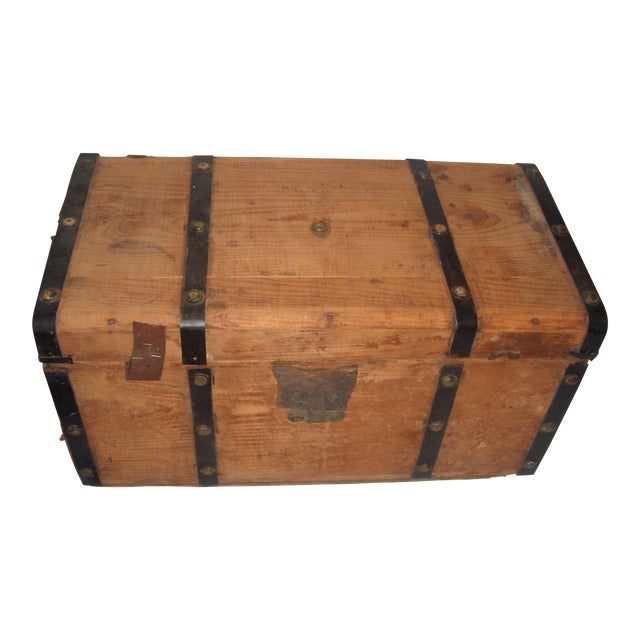Victorian wood trunk chairish for Victorian woodwork