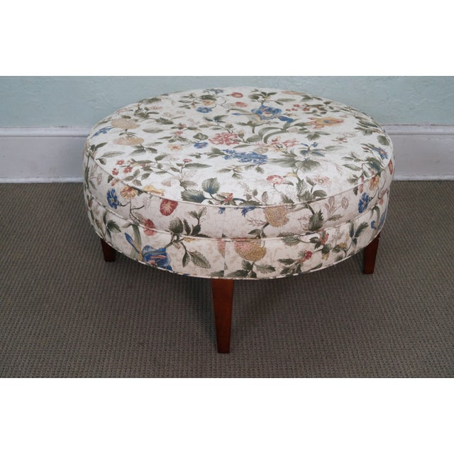 Floral Upholstered Round Ottoman - Image 2 of 10
